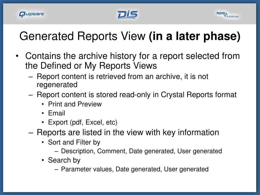 Generated Reports View