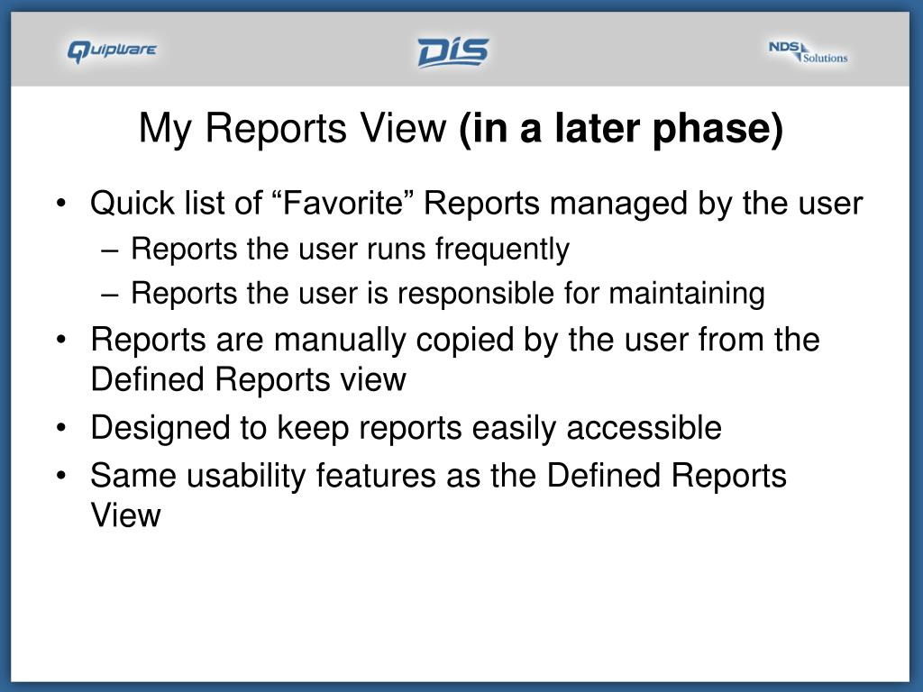 My Reports View