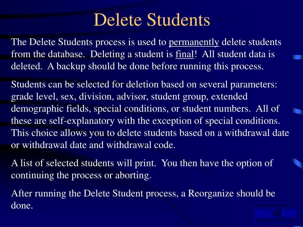 Delete Students