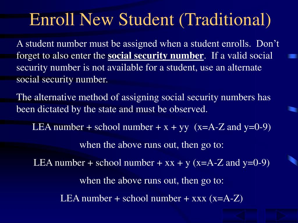 Enroll New Student (Traditional)