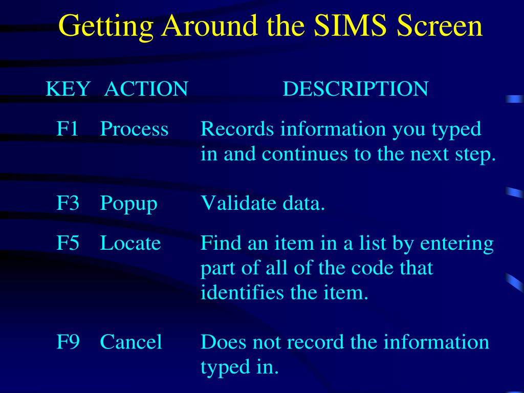 Getting Around the SIMS Screen