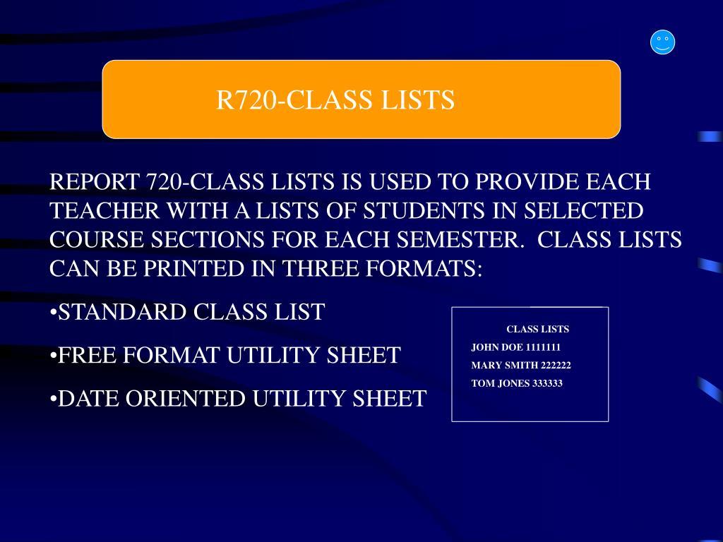 R720-CLASS LISTS