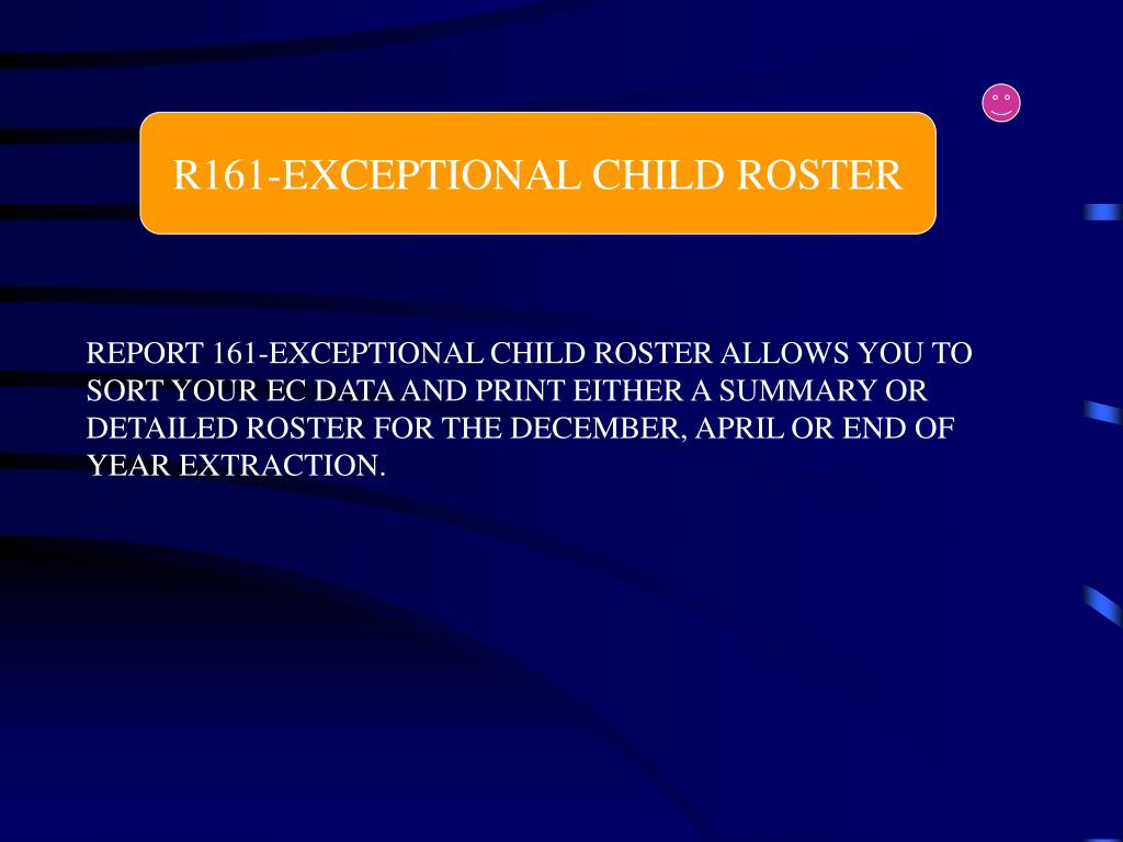 R161-EXCEPTIONAL CHILD ROSTER
