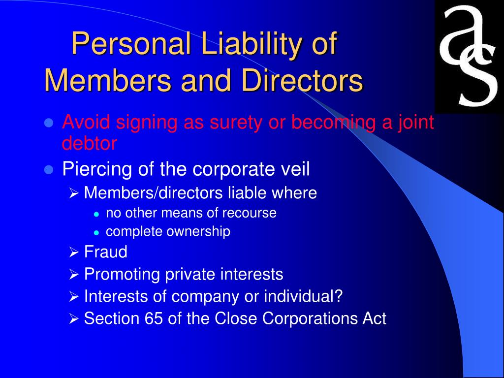 Personal Liability of Members and Directors