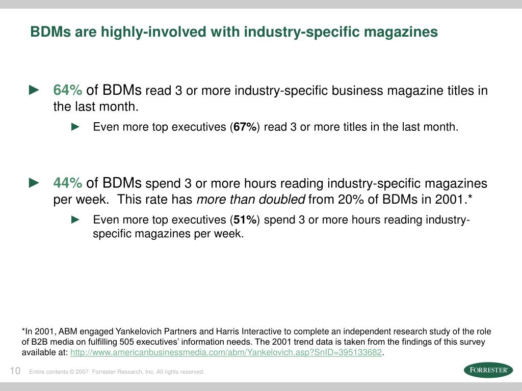 BDMs are highly-involved with industry-specific magazines