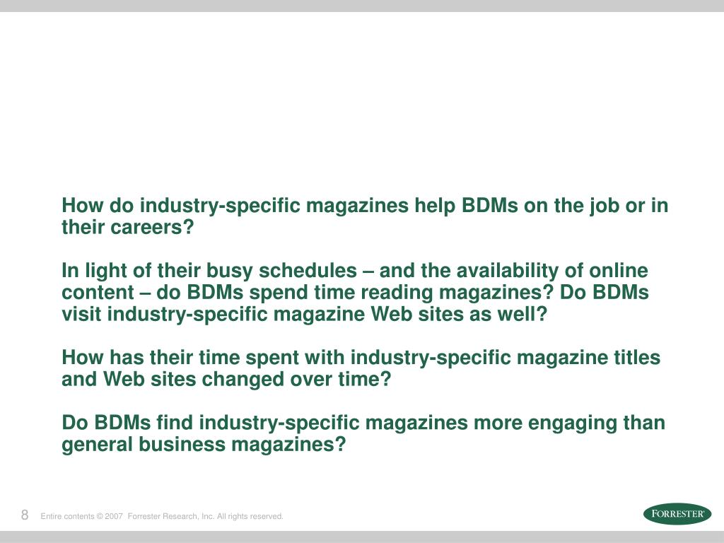 How do industry-specific magazines help BDMs on the job or in their careers?