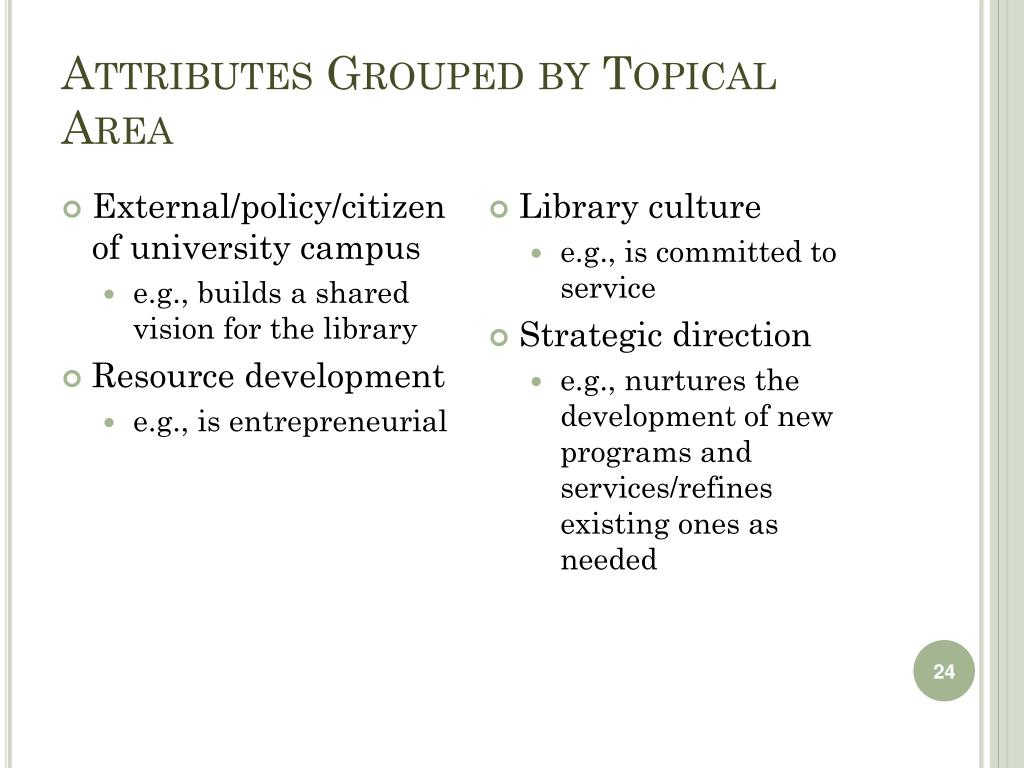 Attributes Grouped by Topical Area