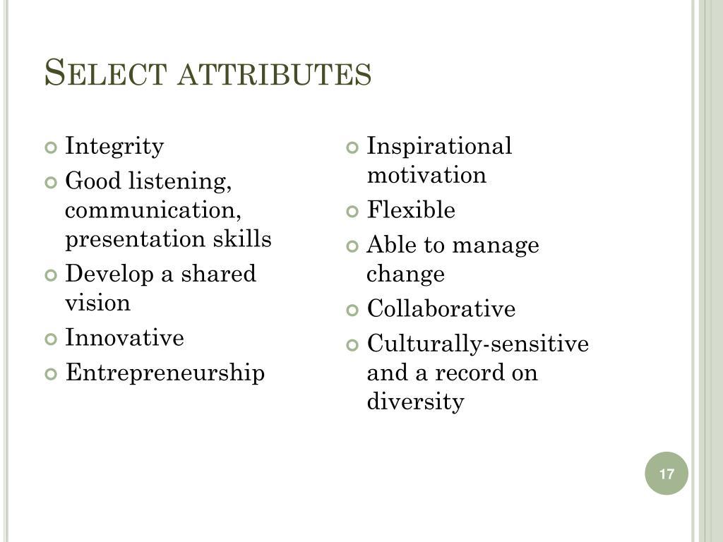 Select attributes