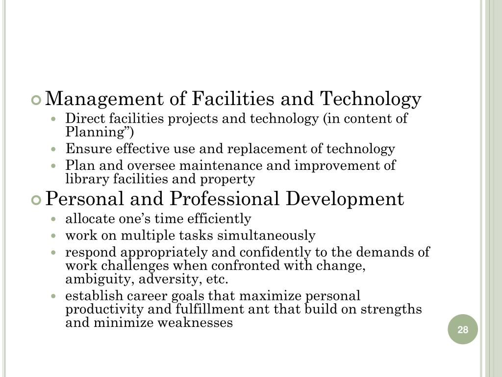 Management of Facilities and Technology
