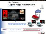 key features login page redirection