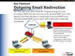 key features outgoing email redirection