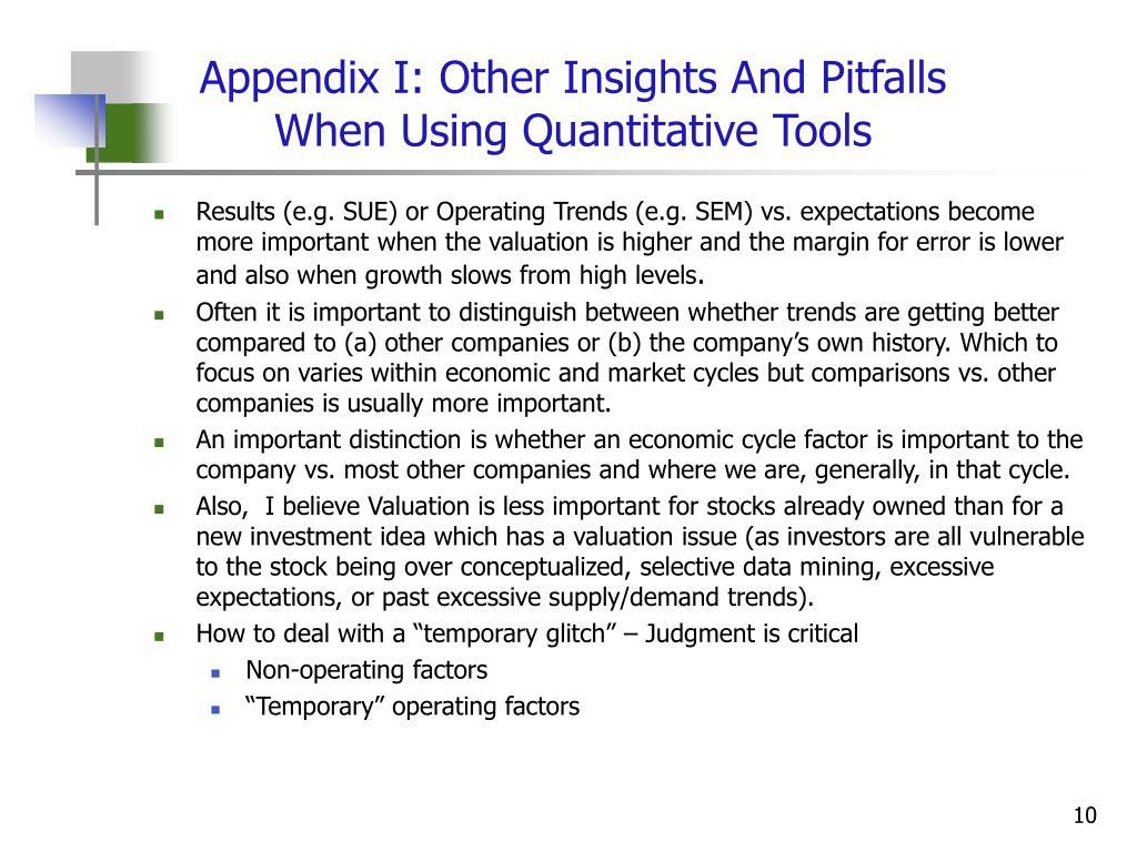 Appendix I: Other Insights And Pitfalls