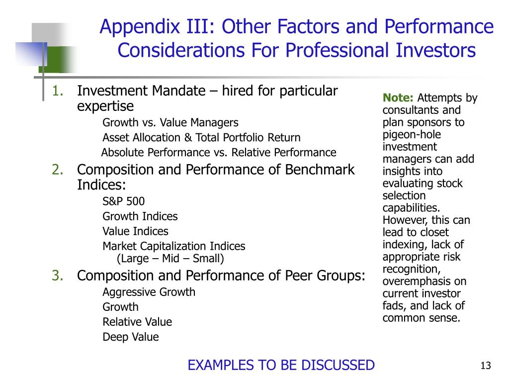Investment Mandate – hired for particular expertise