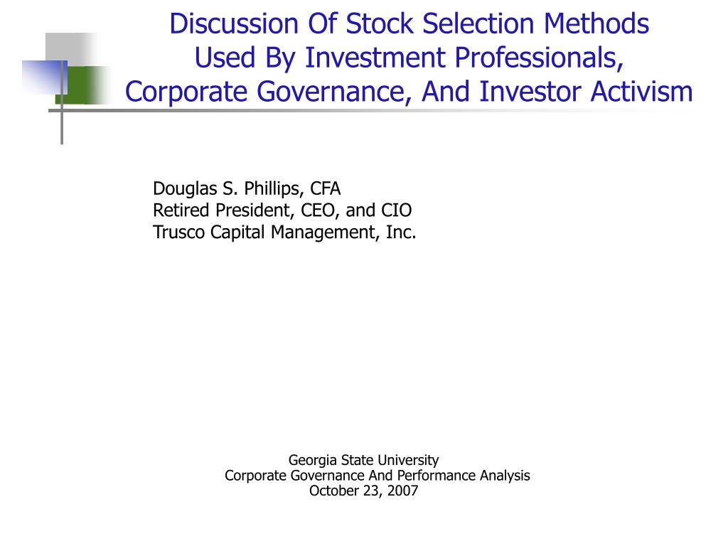 Discussion Of Stock Selection Methods