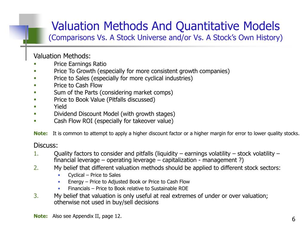 Valuation Methods And Quantitative Models