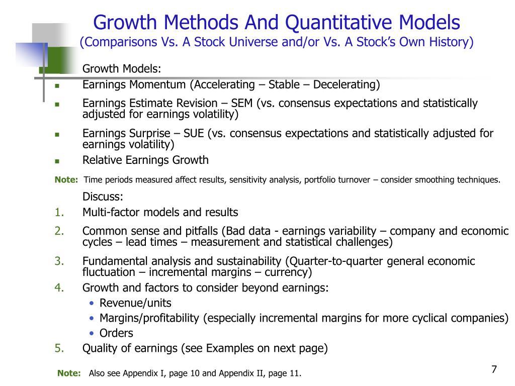 Growth Methods And Quantitative Models