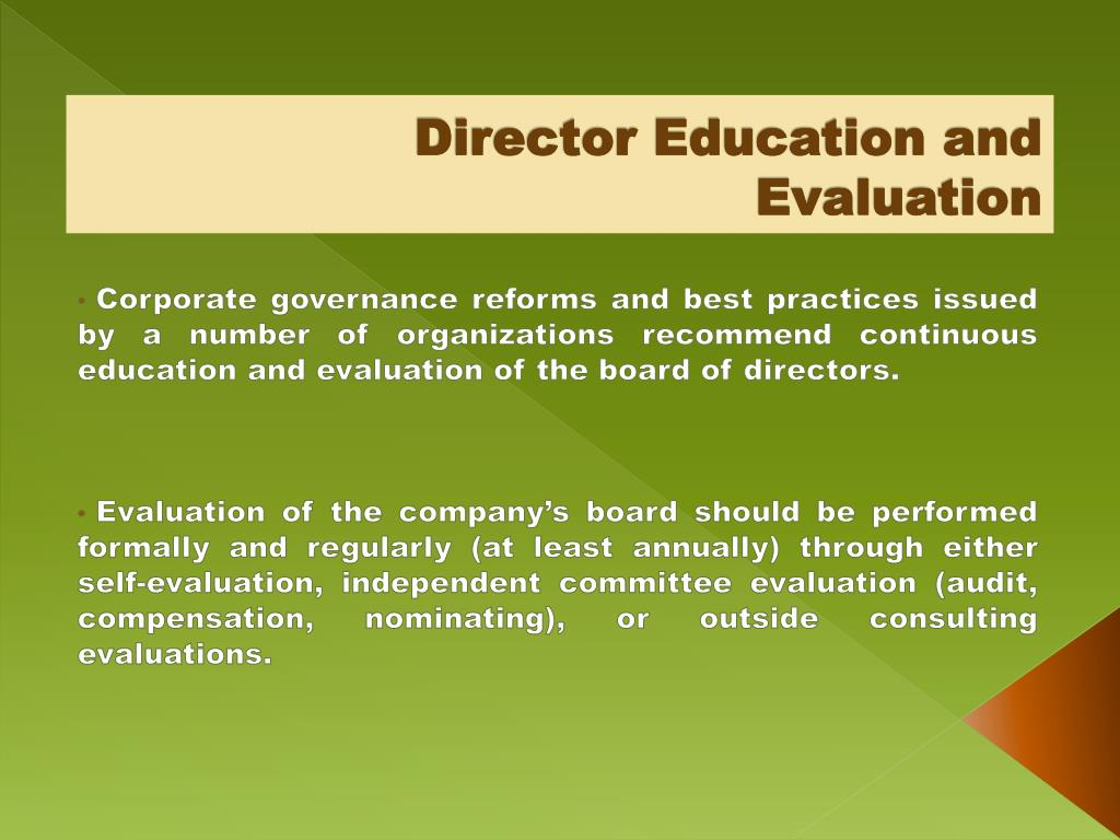 Director Education and Evaluation