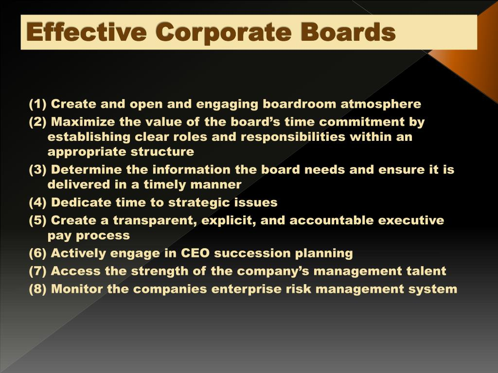 Effective Corporate Boards