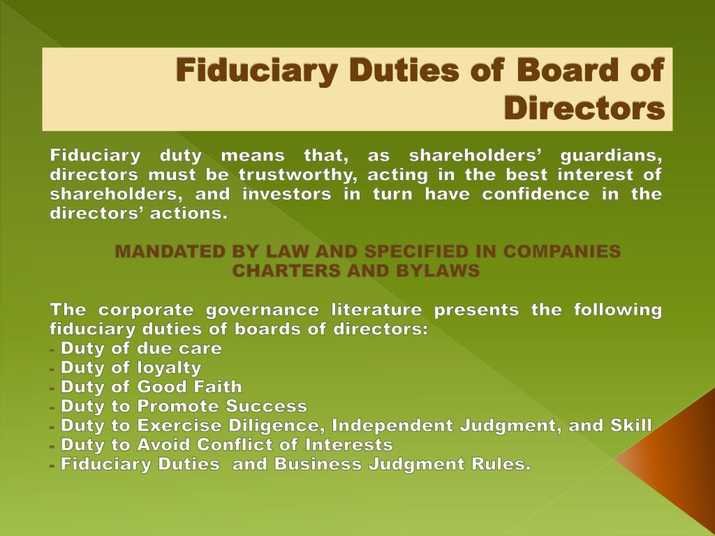 Fiduciary Duties of Board of Directors