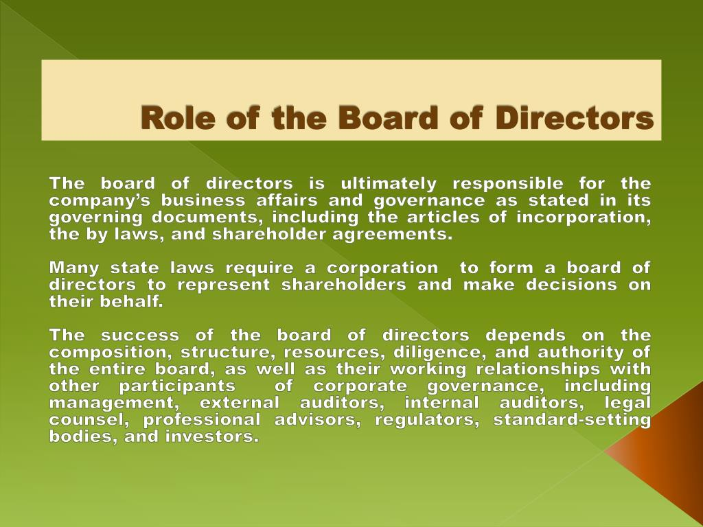 Role of the Board of Directors