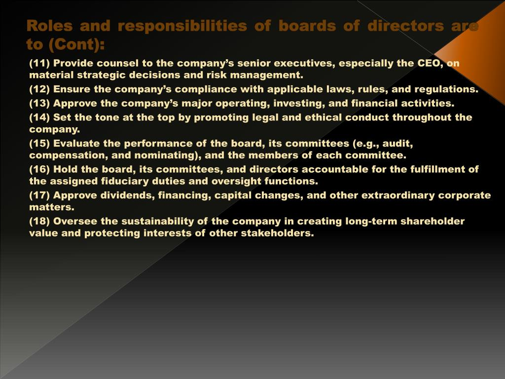 Roles and responsibilities of boards of directors are to (Cont):