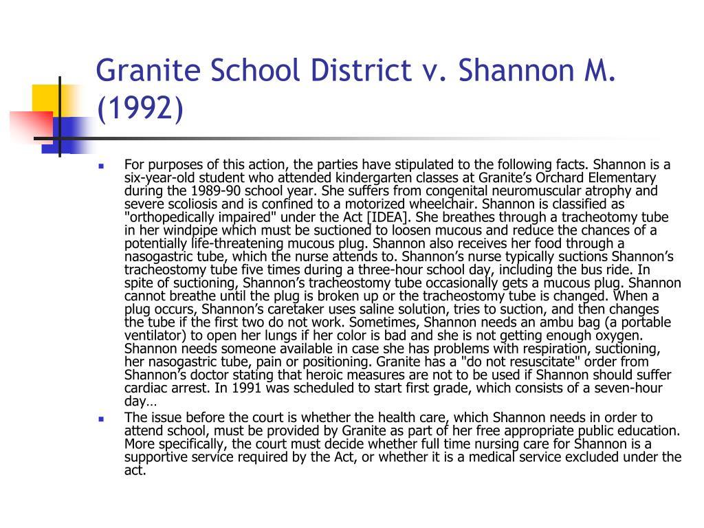 Granite School District v. Shannon M. (1992)