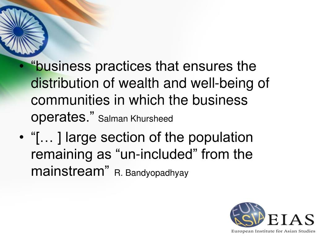 """""""business practices that ensures the distribution of wealth and well-being of communities in which the business operates."""""""