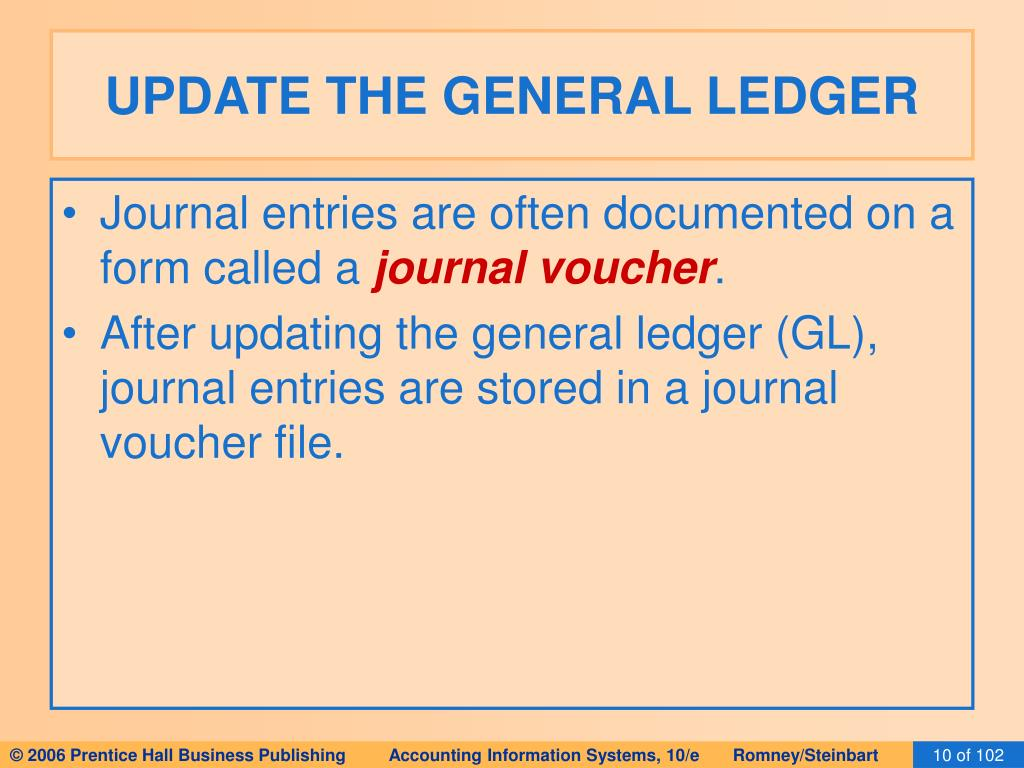 UPDATE THE GENERAL LEDGER