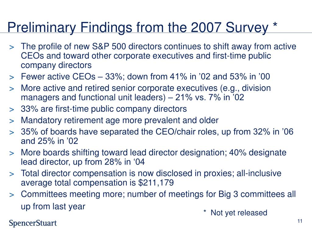 Preliminary Findings from the 2007 Survey *