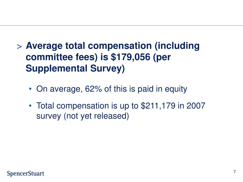 Average total compensation (including    committee fees) is $179,056 (per Supplemental Survey)