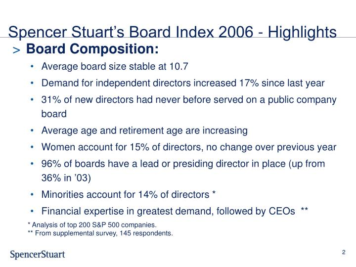 Spencer stuart s board index 2006 highlights