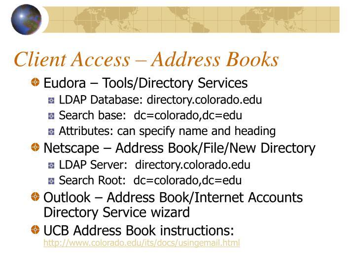 Client Access – Address Books