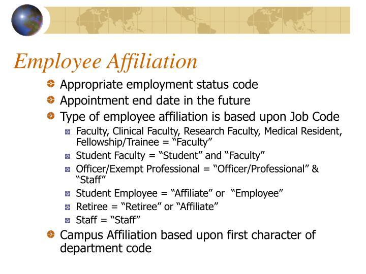 Employee Affiliation