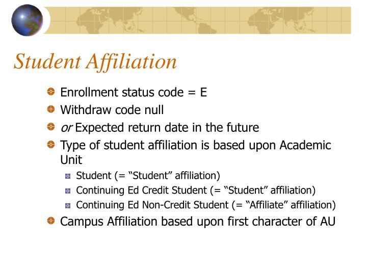 Student Affiliation