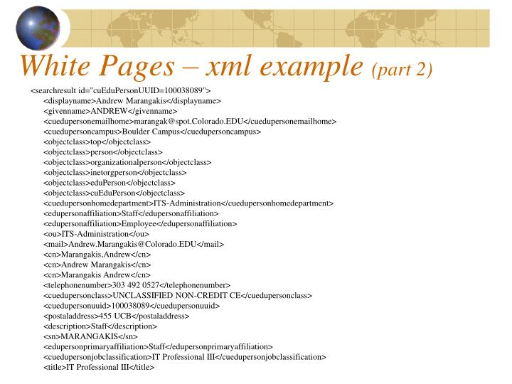 White Pages – xml example