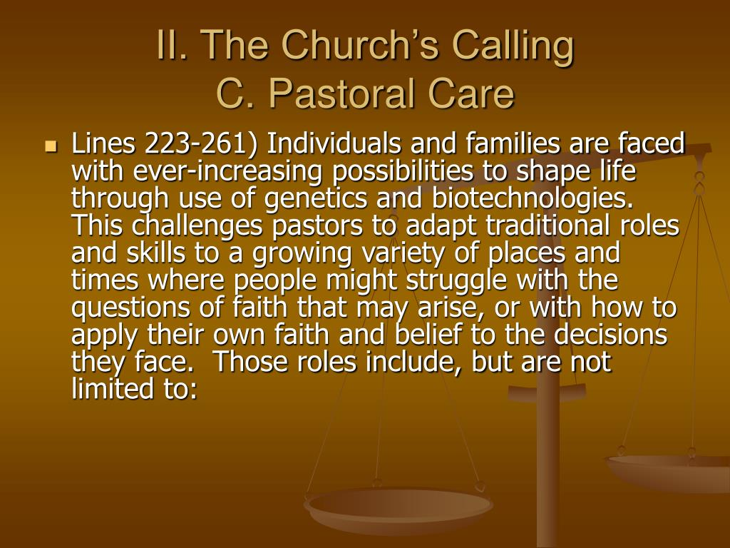 II. The Church's Calling