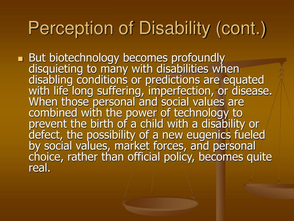 Perception of Disability (cont.)