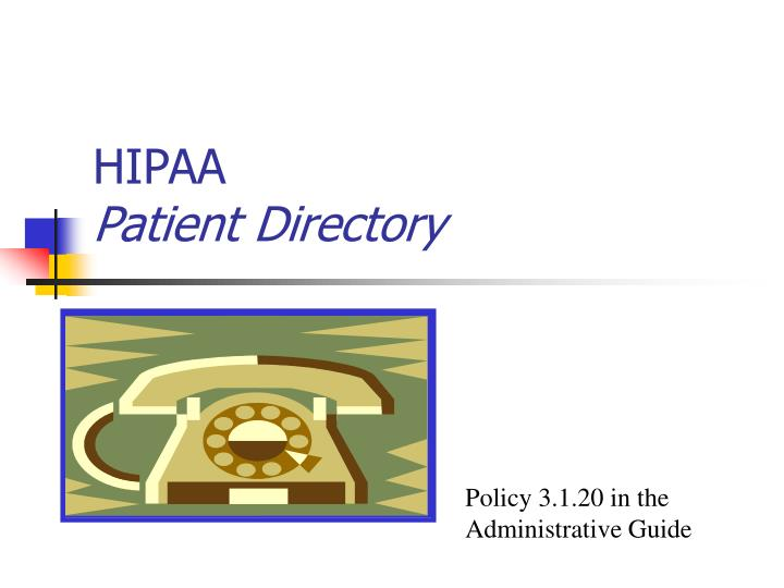 Hipaa patient directory