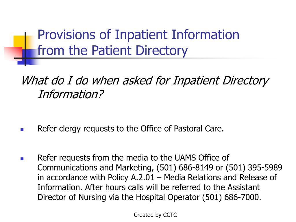 Provisions of Inpatient Information