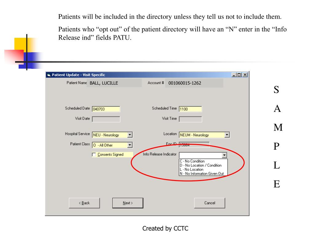 Patients will be included in the directory unless they tell us not to include them.