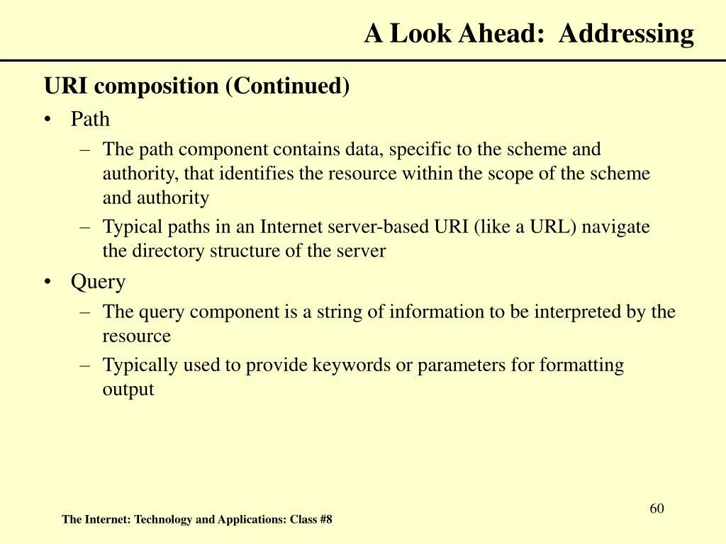 A Look Ahead:  Addressing