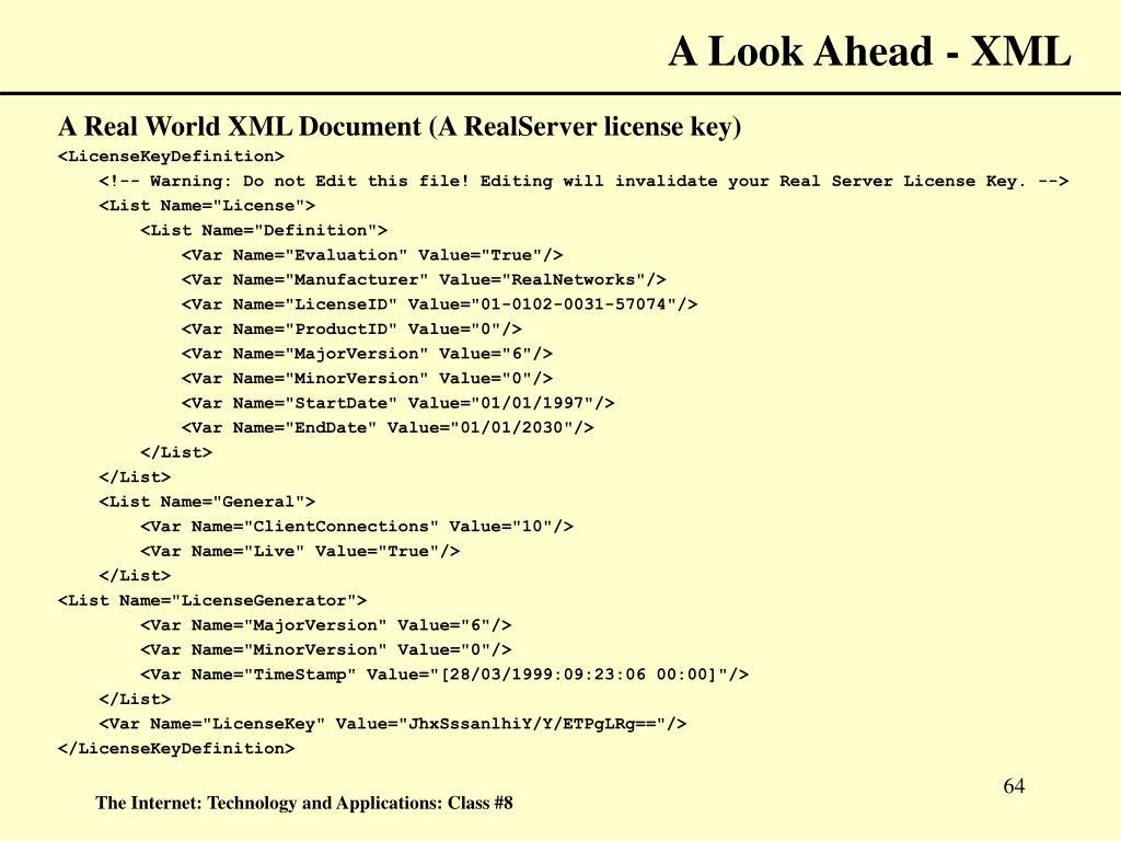 A Look Ahead - XML
