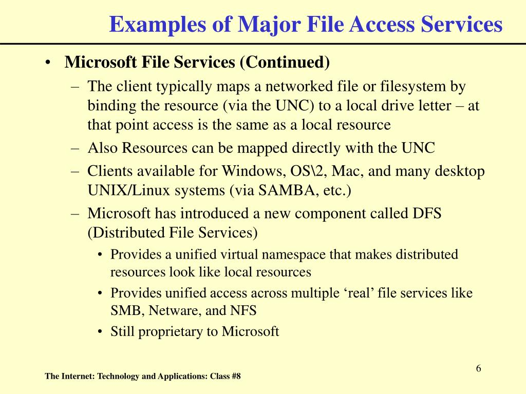 Examples of Major File Access Services