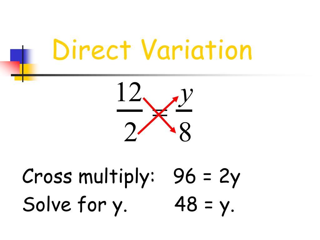 Cross multiply:   96 = 2y