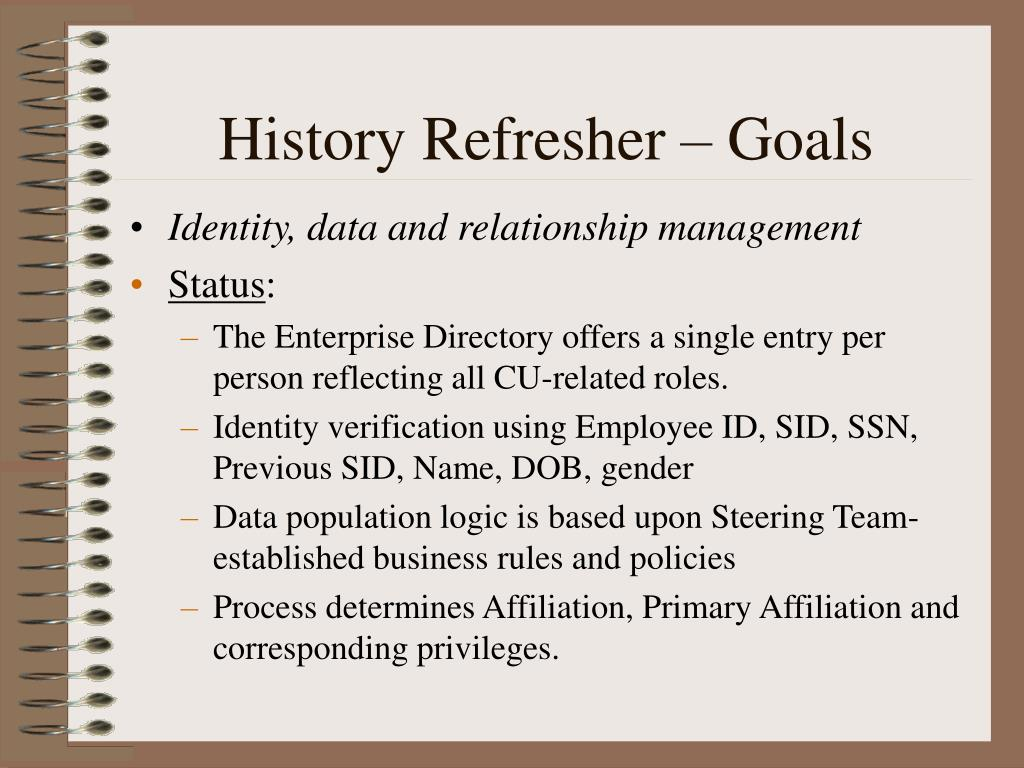 History Refresher – Goals