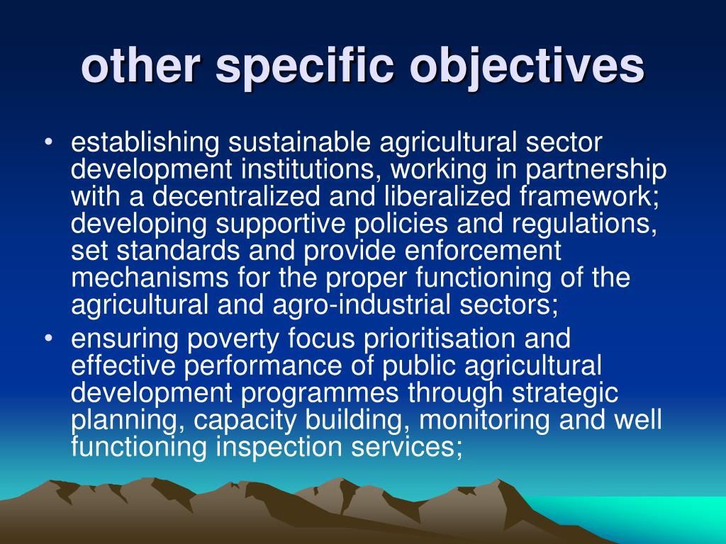 other specific objectives