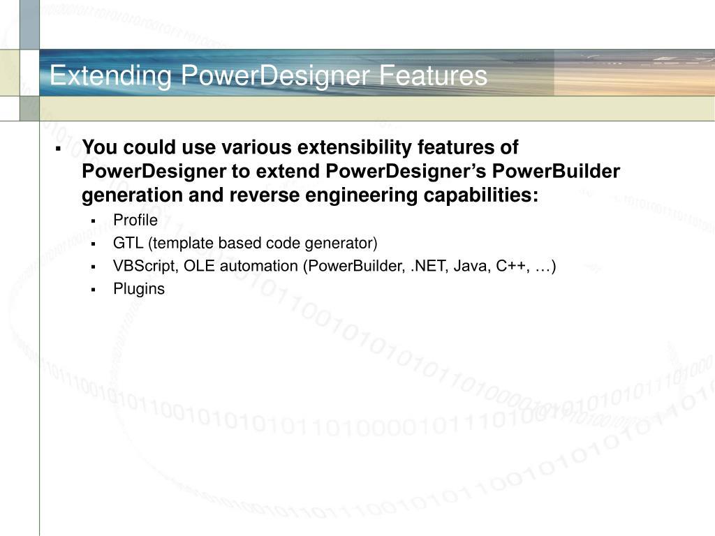 Extending PowerDesigner Features