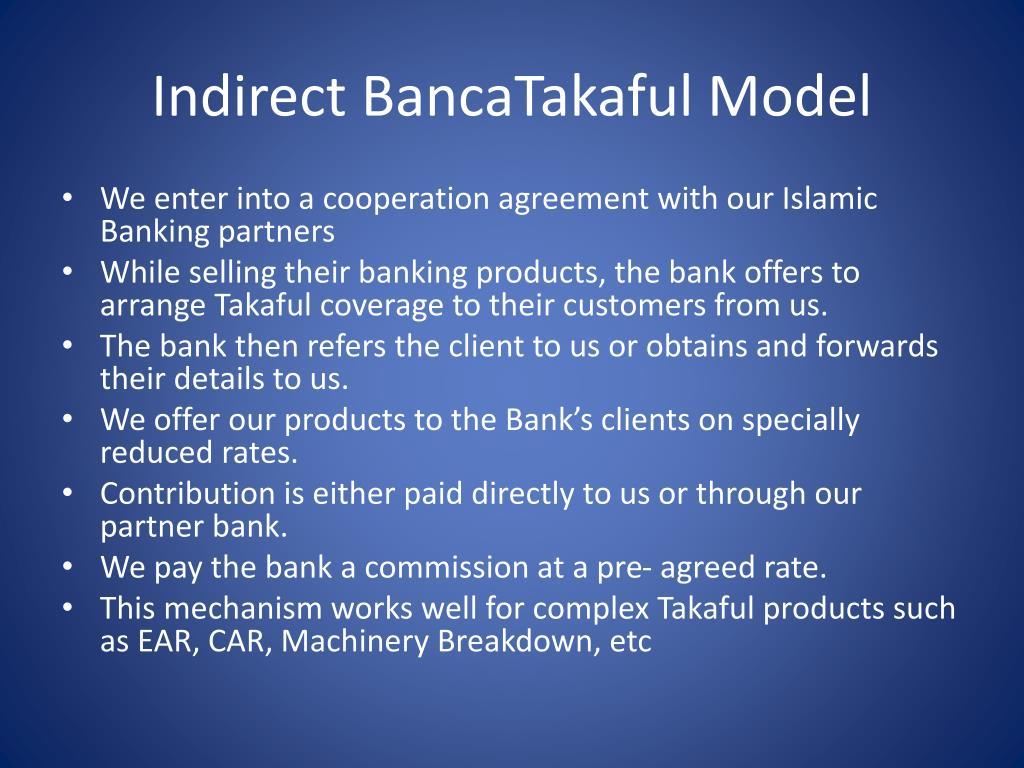 Indirect BancaTakaful Model