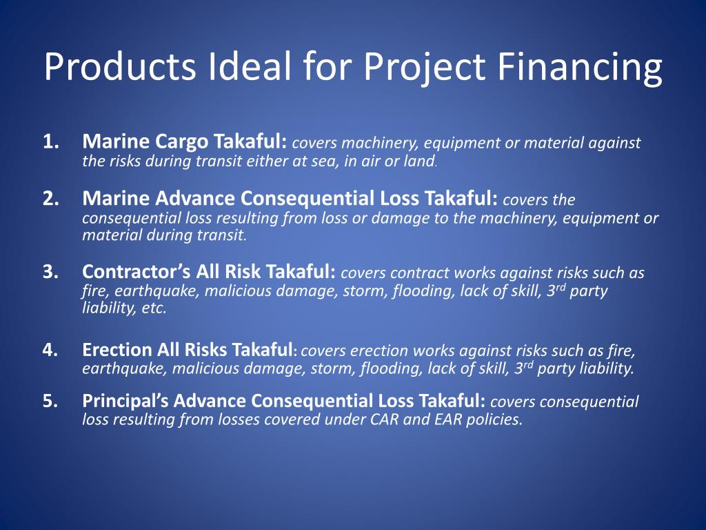 Products Ideal for Project Financing