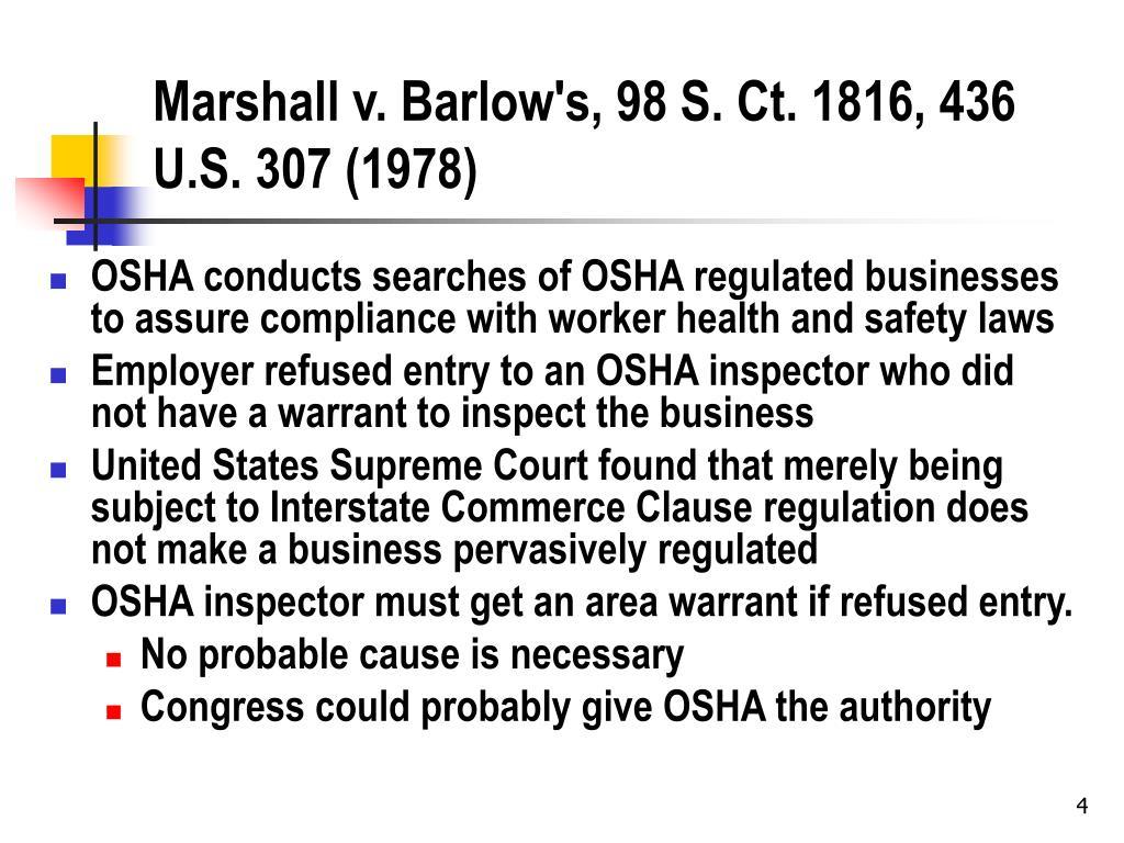 Marshall v. Barlow's, 98 S. Ct. 1816, 436 U.S. 307 (1978)